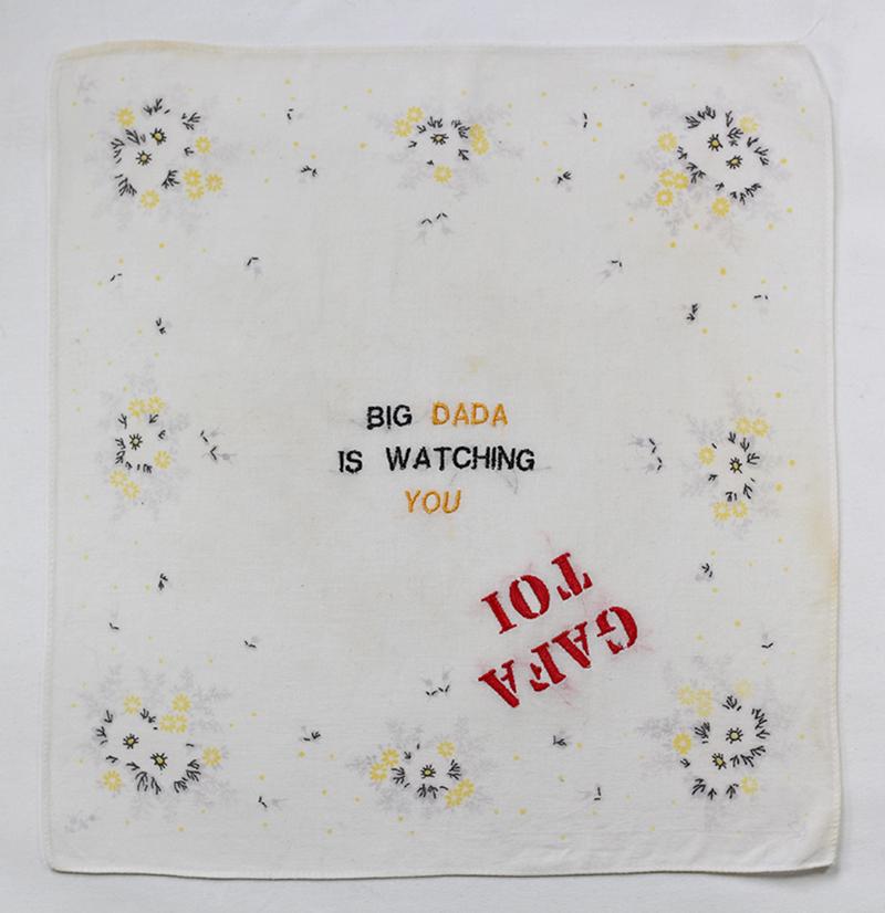 Série BIG DADA IS WATCHING YOU // Mouchoir GAFA TOI WATCHING // Blockchain ID : 1AthJJw4osh3MYGuZ8uyHqsZR4pTY7gnUv