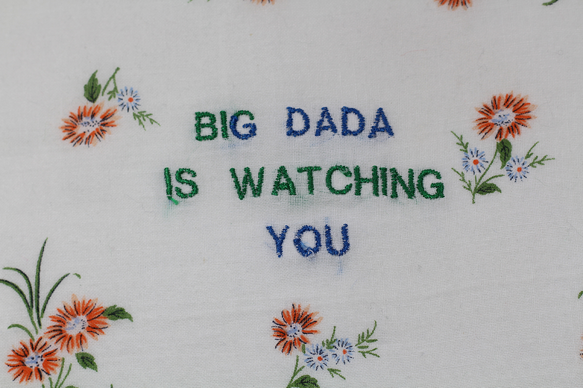 Series BIG DADA IS WATCHING YOU // Handkerchief DADA FLEURS OCRES (zoom) // Blockchain ID : 1KedKy8feM2T4N9tzeqoNwRcuDTBnHJYJH