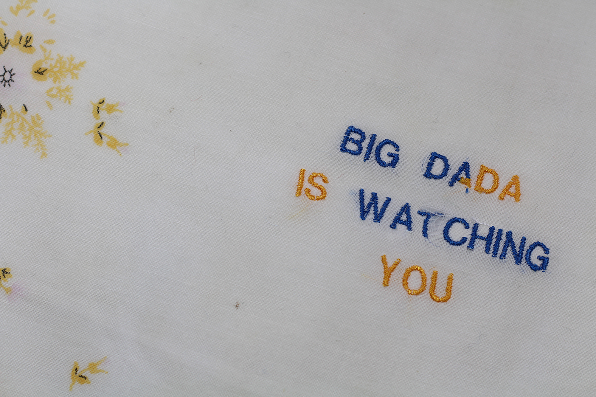 Series BIG DADA IS WATCHING YOU // Handkerchief DA BLEU DA JAUNE (zoom) // Blockchain ID : 1DrPsWksniK5JF4Pp2E43gaTTzxthsmioJ